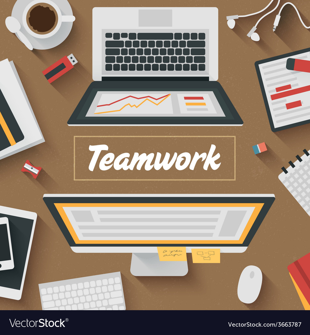 Trendy flat design teamwork office vector | Price: 1 Credit (USD $1)