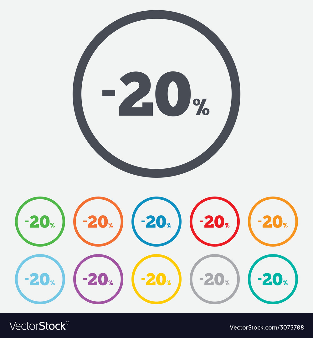 20 percent discount sign icon sale symbol vector   Price: 1 Credit (USD $1)