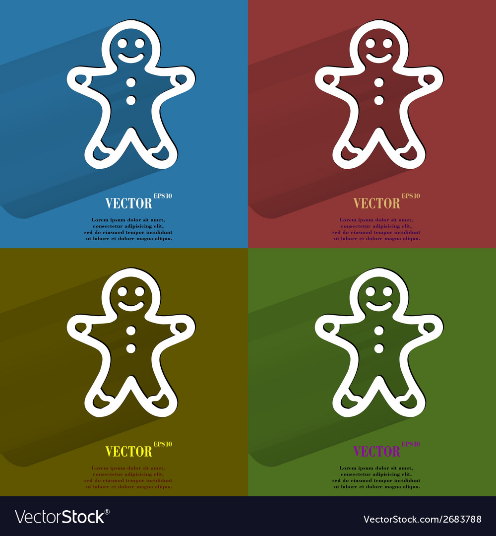 Color set gingerbread flat modern web button with vector | Price: 1 Credit (USD $1)