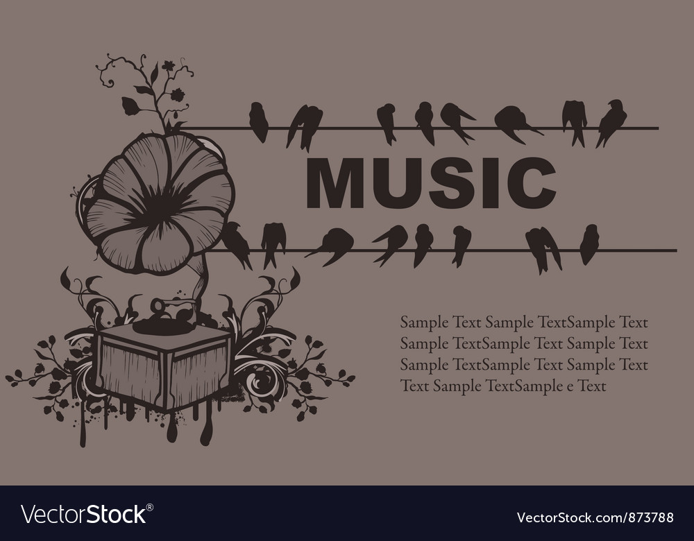 Concert poster with gramophone vector | Price: 1 Credit (USD $1)