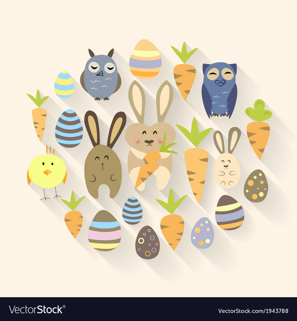 Easter eggs birds rabbits and carrots icons vector | Price: 1 Credit (USD $1)