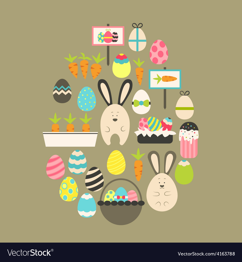 Easter holiday flat icons set over brown vector | Price: 1 Credit (USD $1)