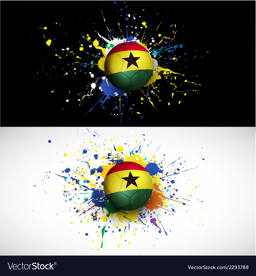 Ghana flag with soccer ball dash on colorful vector | Price: 1 Credit (USD $1)