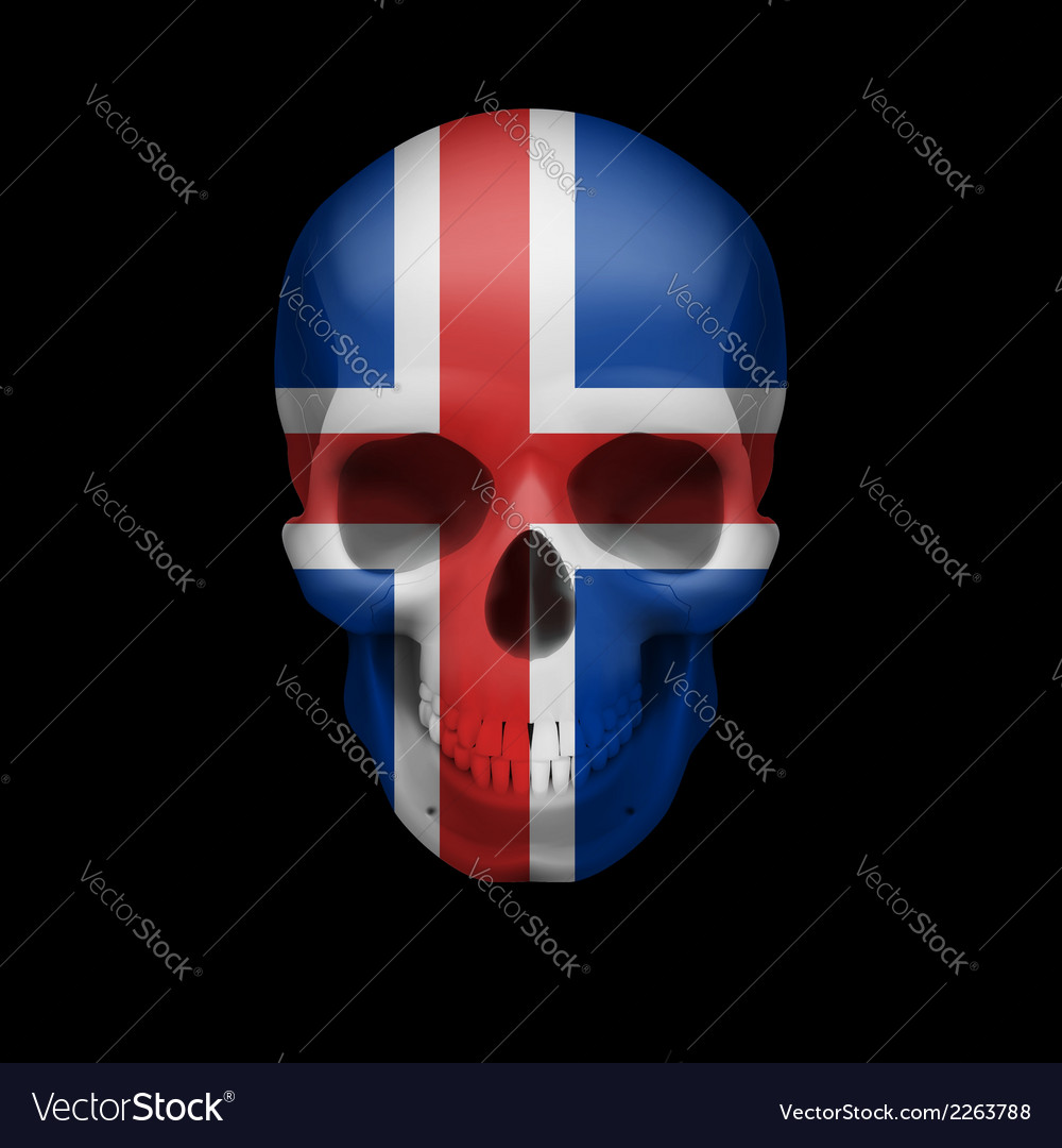 Icelandic flag skull vector | Price: 1 Credit (USD $1)