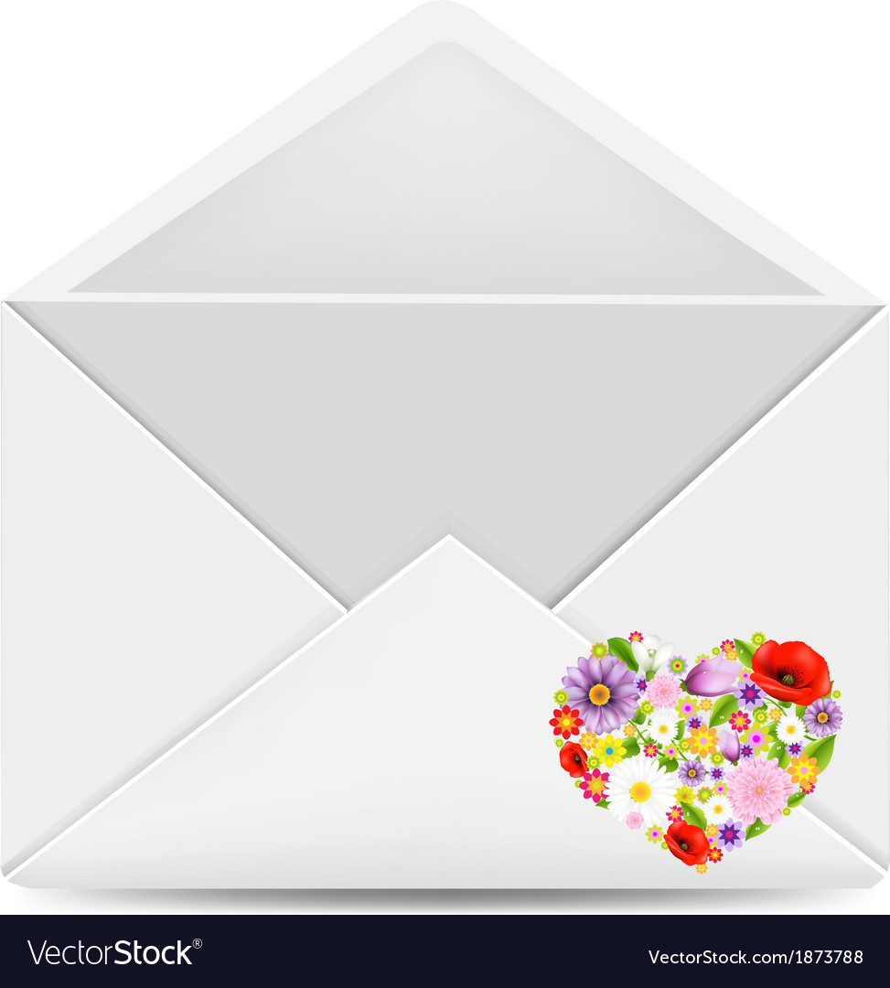 White envelope with flowers heart vector   Price: 1 Credit (USD $1)