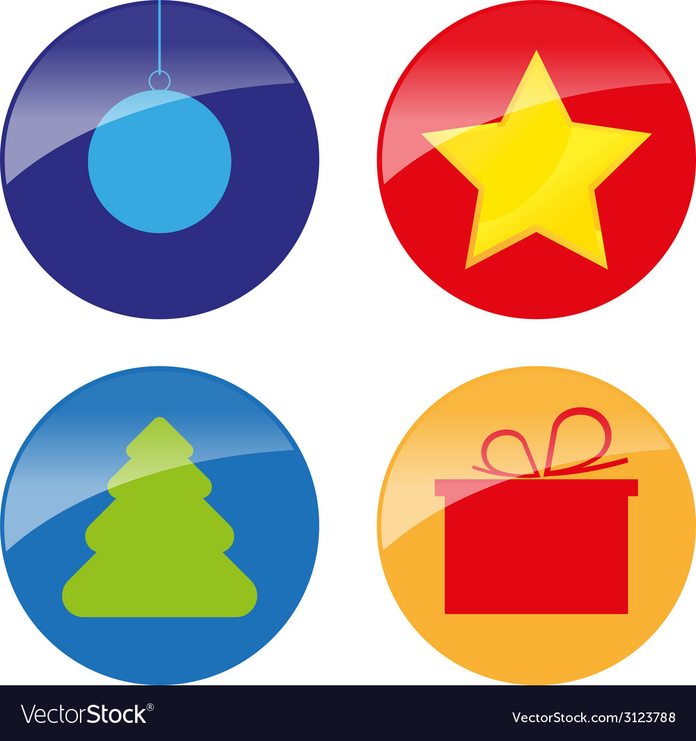 Xmas simple glossy color icons vector | Price: 1 Credit (USD $1)