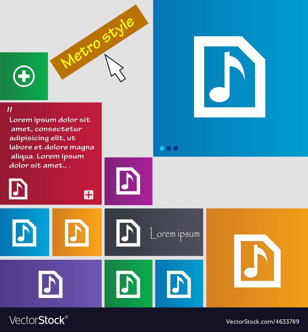 Audio mp3 file icon sign metro style buttons vector | Price: 1 Credit (USD $1)