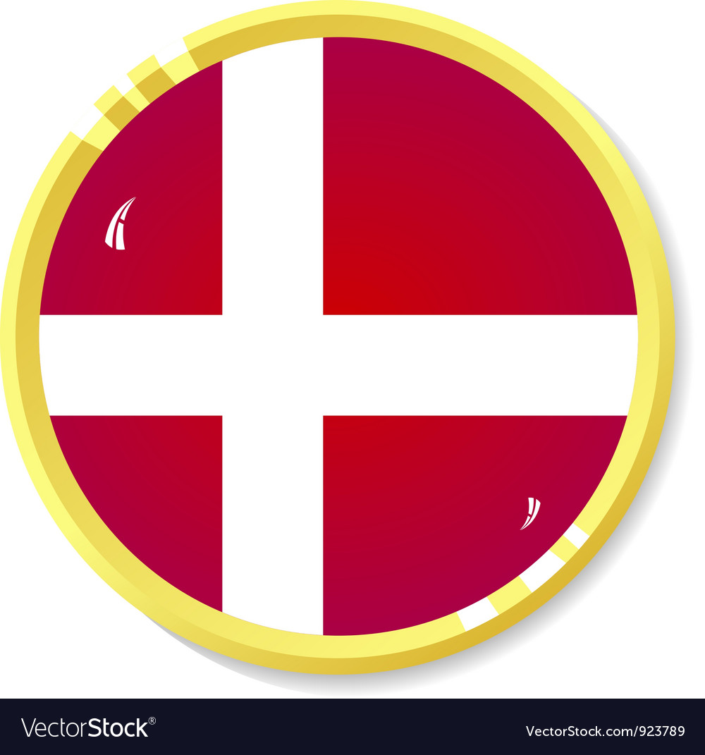 Button with flag denmark vector | Price: 1 Credit (USD $1)