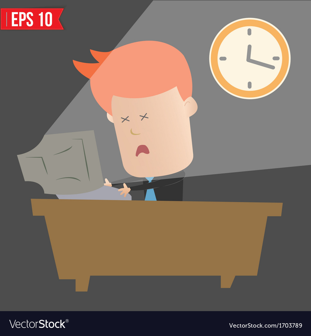 Cartoon business man working with computer - vector | Price: 1 Credit (USD $1)