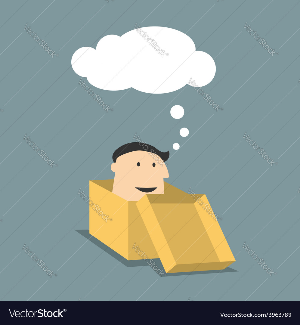 Cartoon man in a box with thought cloud vector | Price: 1 Credit (USD $1)