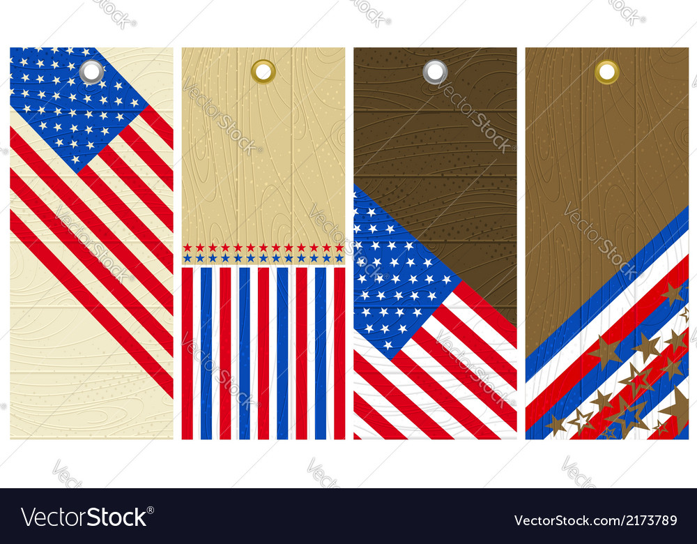 Four wooden labels with elements of usa banner vector | Price: 1 Credit (USD $1)