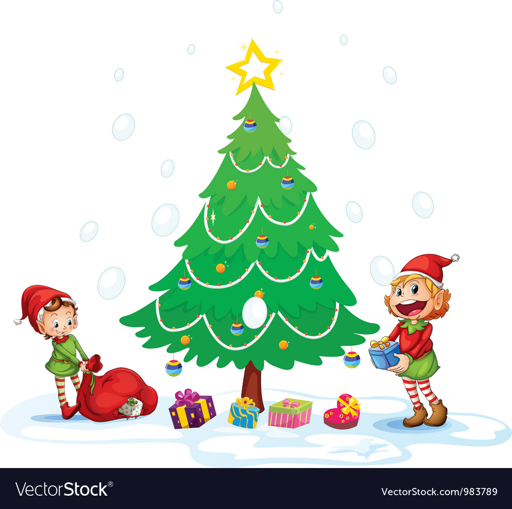 Girls decorating christmas tree vector | Price: 3 Credit (USD $3)