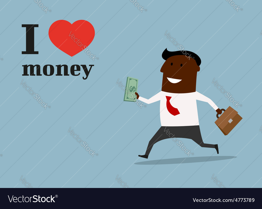 Happy black businessman in love money concept vector | Price: 1 Credit (USD $1)