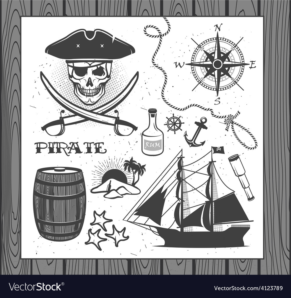 Set of vintage pirate elements vector | Price: 3 Credit (USD $3)