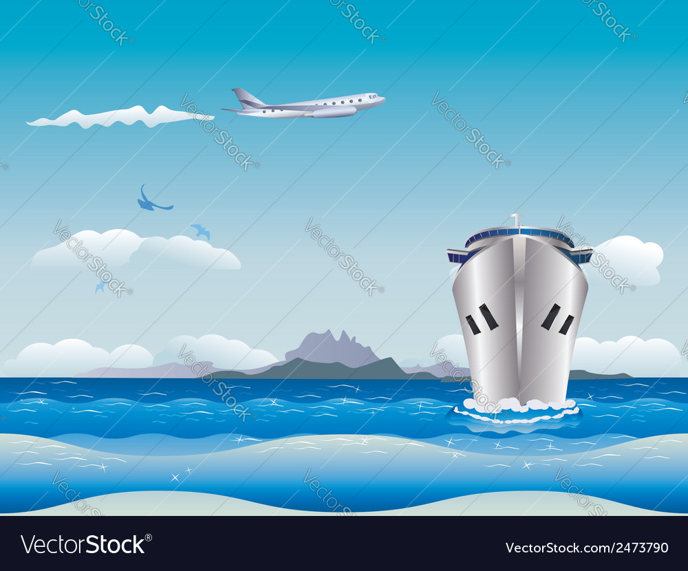 Airplane and ship2 vector | Price: 1 Credit (USD $1)