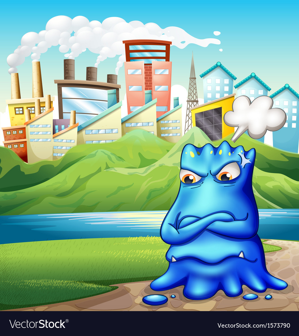 An angry fat blue monster in the city vector | Price: 3 Credit (USD $3)