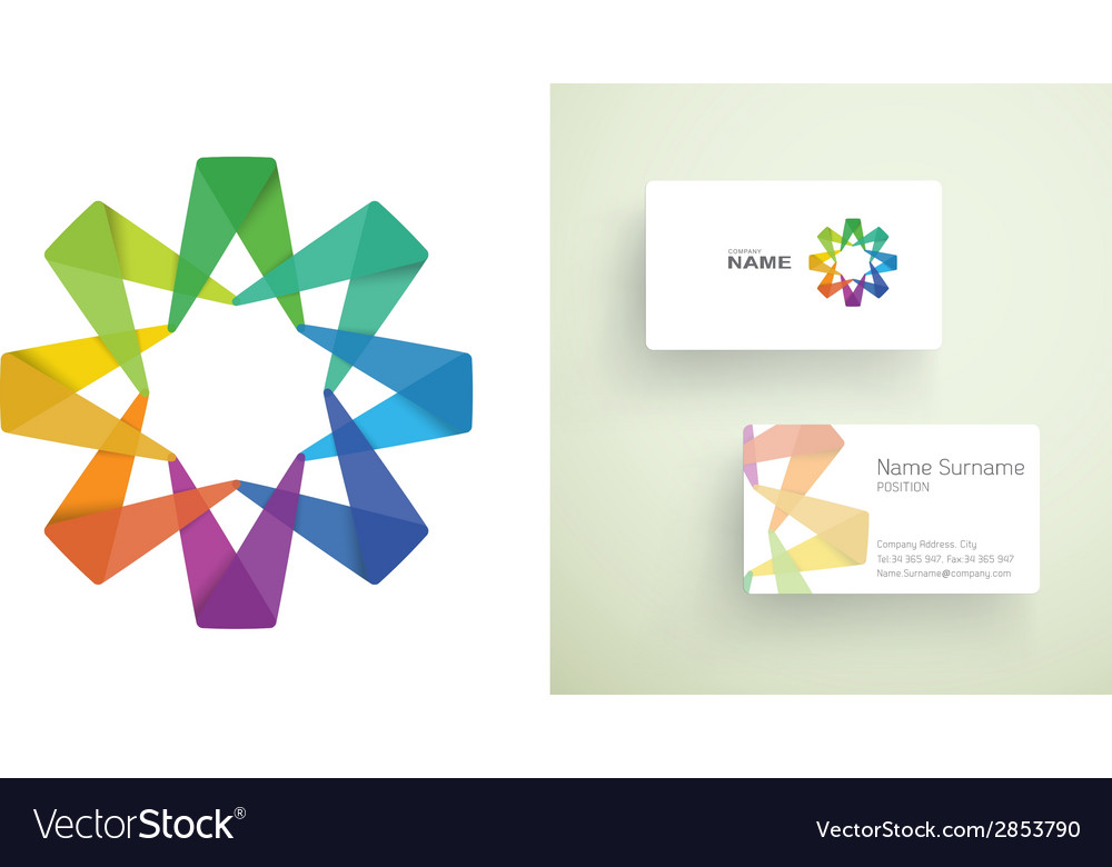 Business card with abstract colorful element vector | Price: 1 Credit (USD $1)