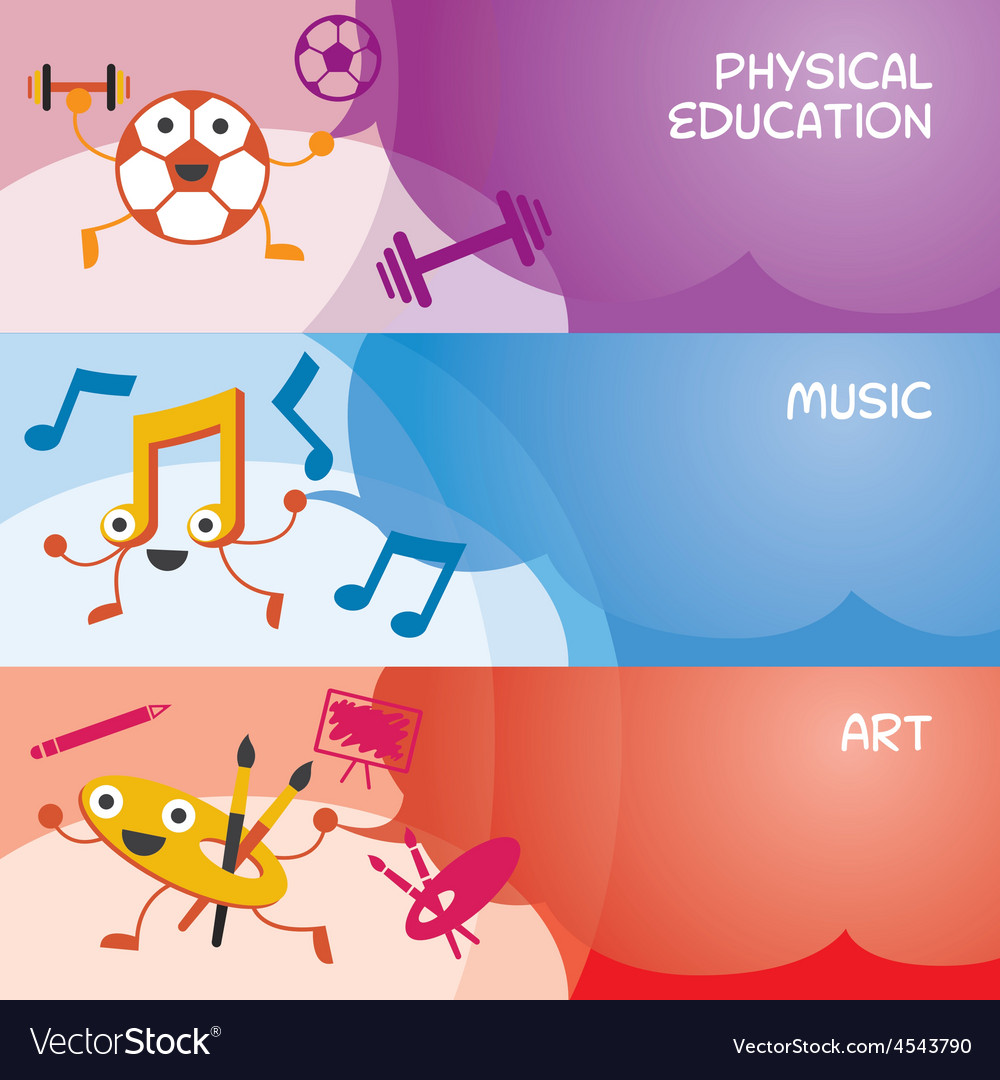Education characters banner physical music art vector | Price: 1 Credit (USD $1)