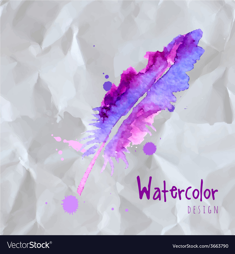 Feather painted live watercolor paint vector | Price: 1 Credit (USD $1)