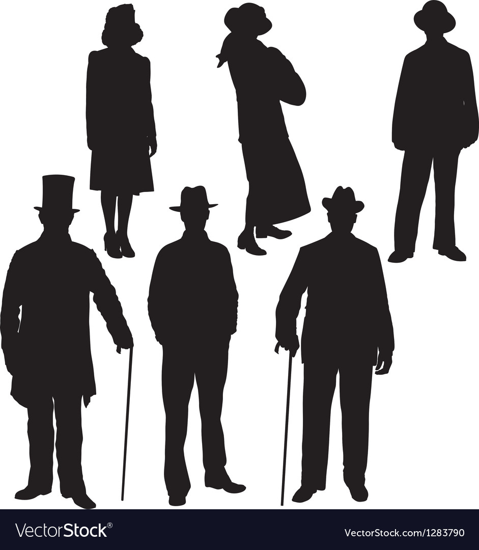Gentleman and lady silhouettes vector