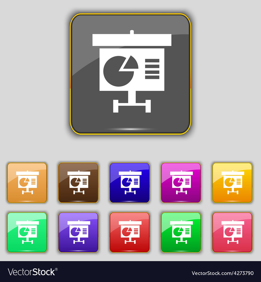 Graph icon sign set with eleven colored buttons vector | Price: 1 Credit (USD $1)