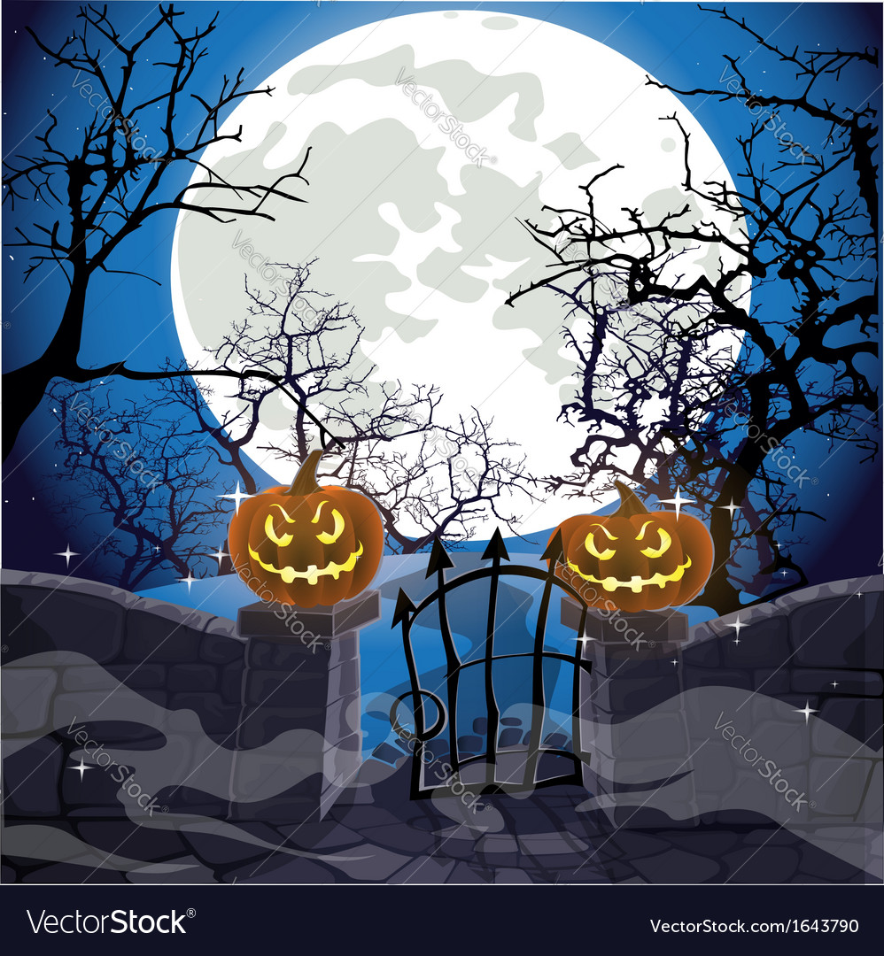 Halloween background fence with a gate vector | Price: 1 Credit (USD $1)