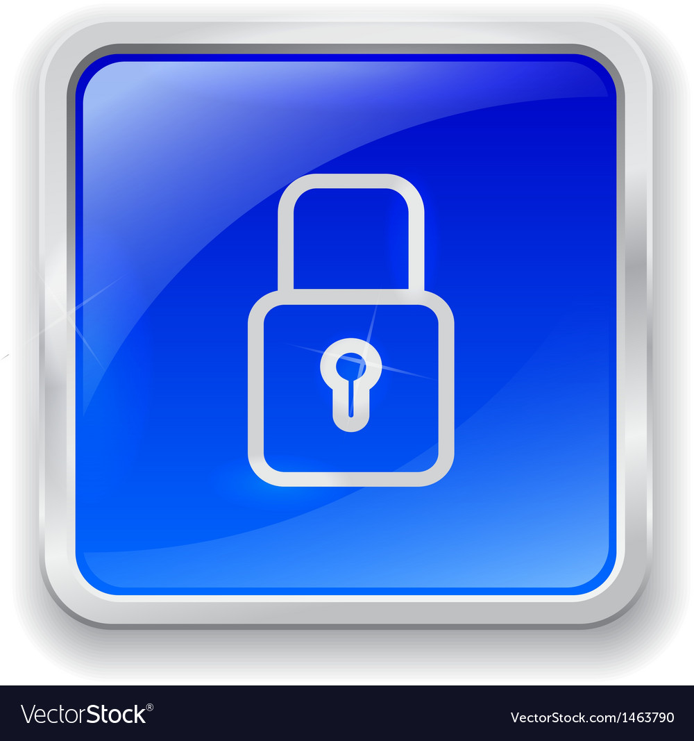 Lock icon on blue button vector   Price: 1 Credit (USD $1)