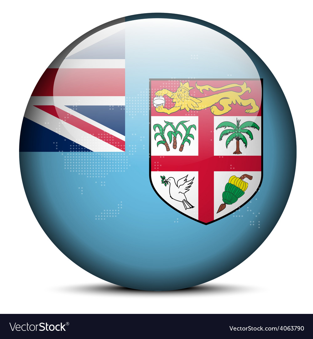 Map on flag button of republic of fiji vector | Price: 1 Credit (USD $1)