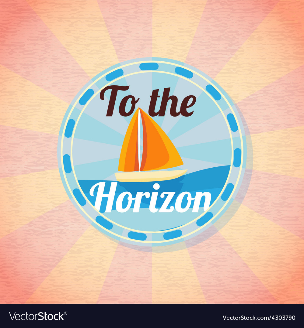 Summer yacht sailing retro background vector | Price: 3 Credit (USD $3)