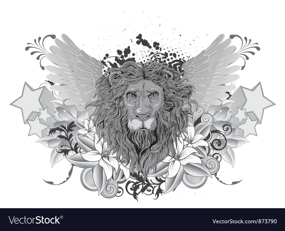 Vintage emblem with lion and wings vector | Price: 1 Credit (USD $1)