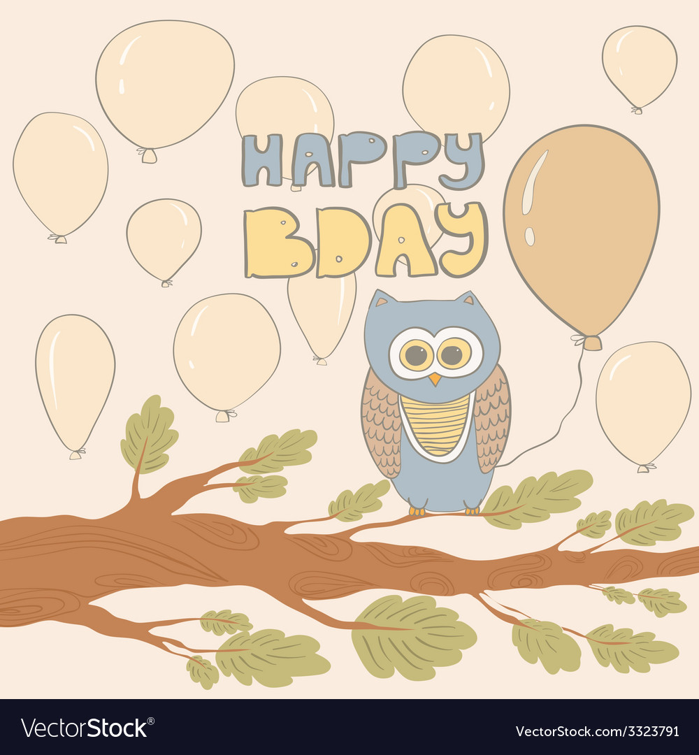 Bdaywithowl vector | Price: 1 Credit (USD $1)