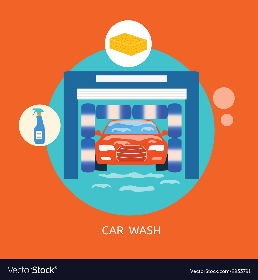 Business concept car wash best clean non stop auto vector | Price: 1 Credit (USD $1)