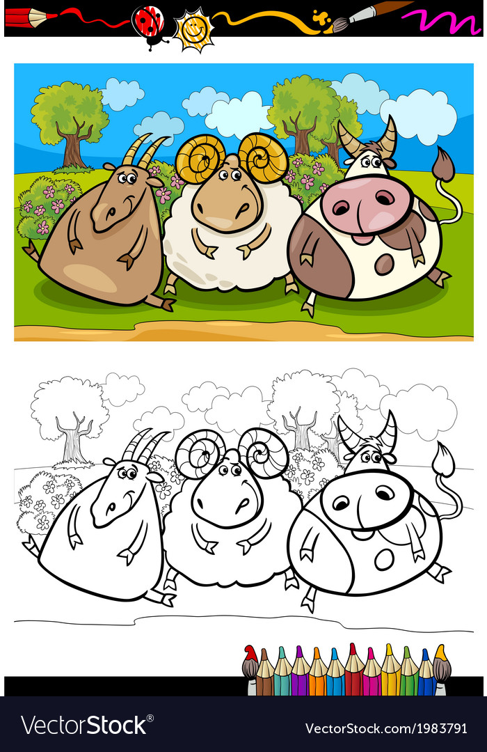 Cartoon farm animals coloring page vector | Price: 1 Credit (USD $1)