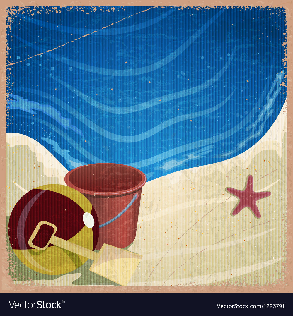 Childrens toys on the background of the sea shore vector | Price: 1 Credit (USD $1)