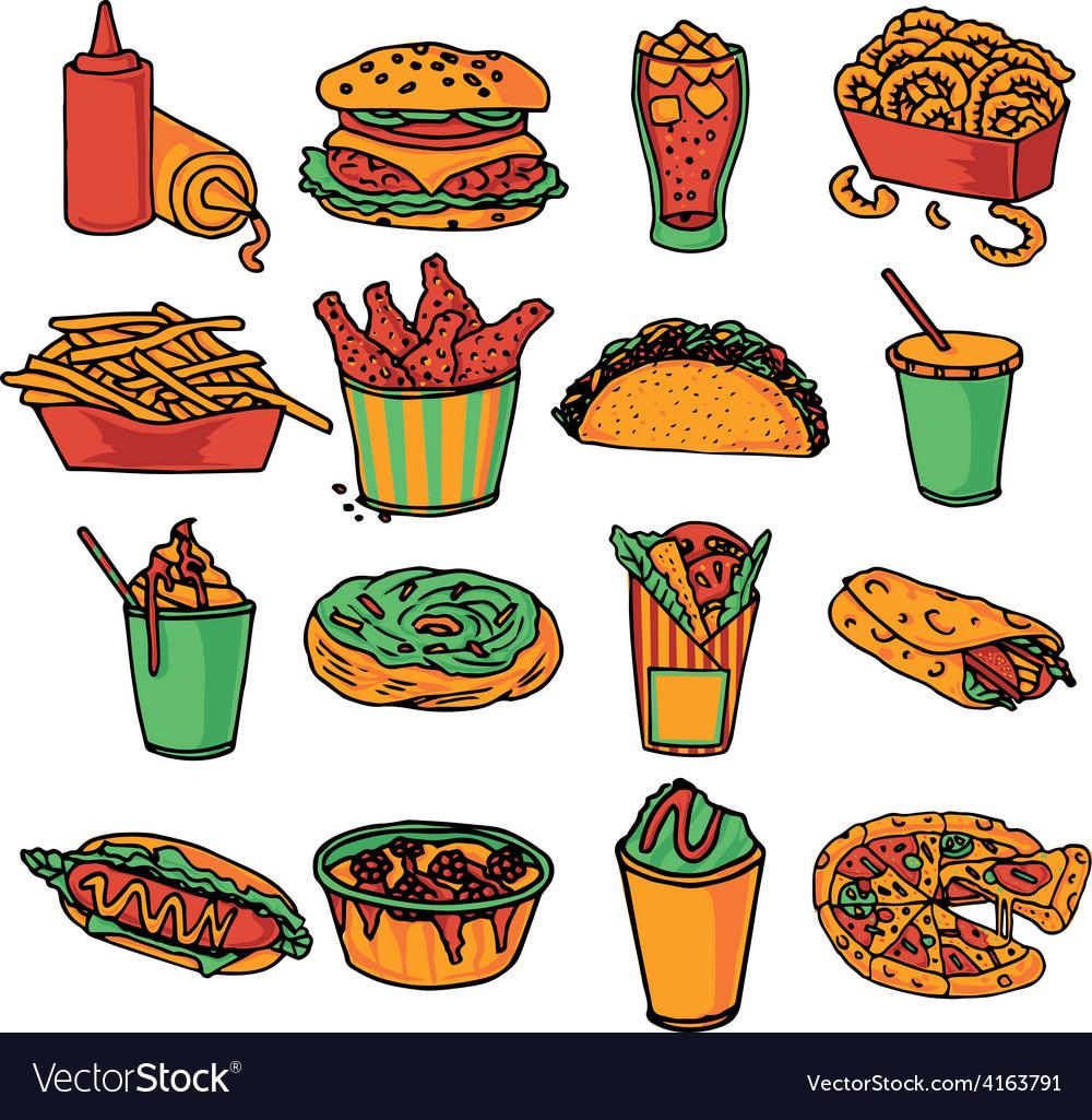 Fast food menu icons set color vector | Price: 3 Credit (USD $3)