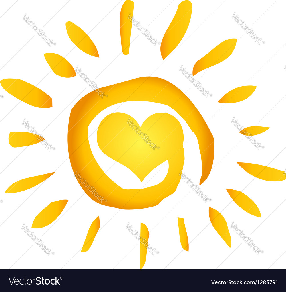 Hot abstract sun with heart vector | Price: 1 Credit (USD $1)