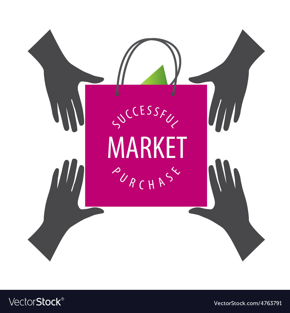 Logo shopping bag from hand to hand vector | Price: 1 Credit (USD $1)