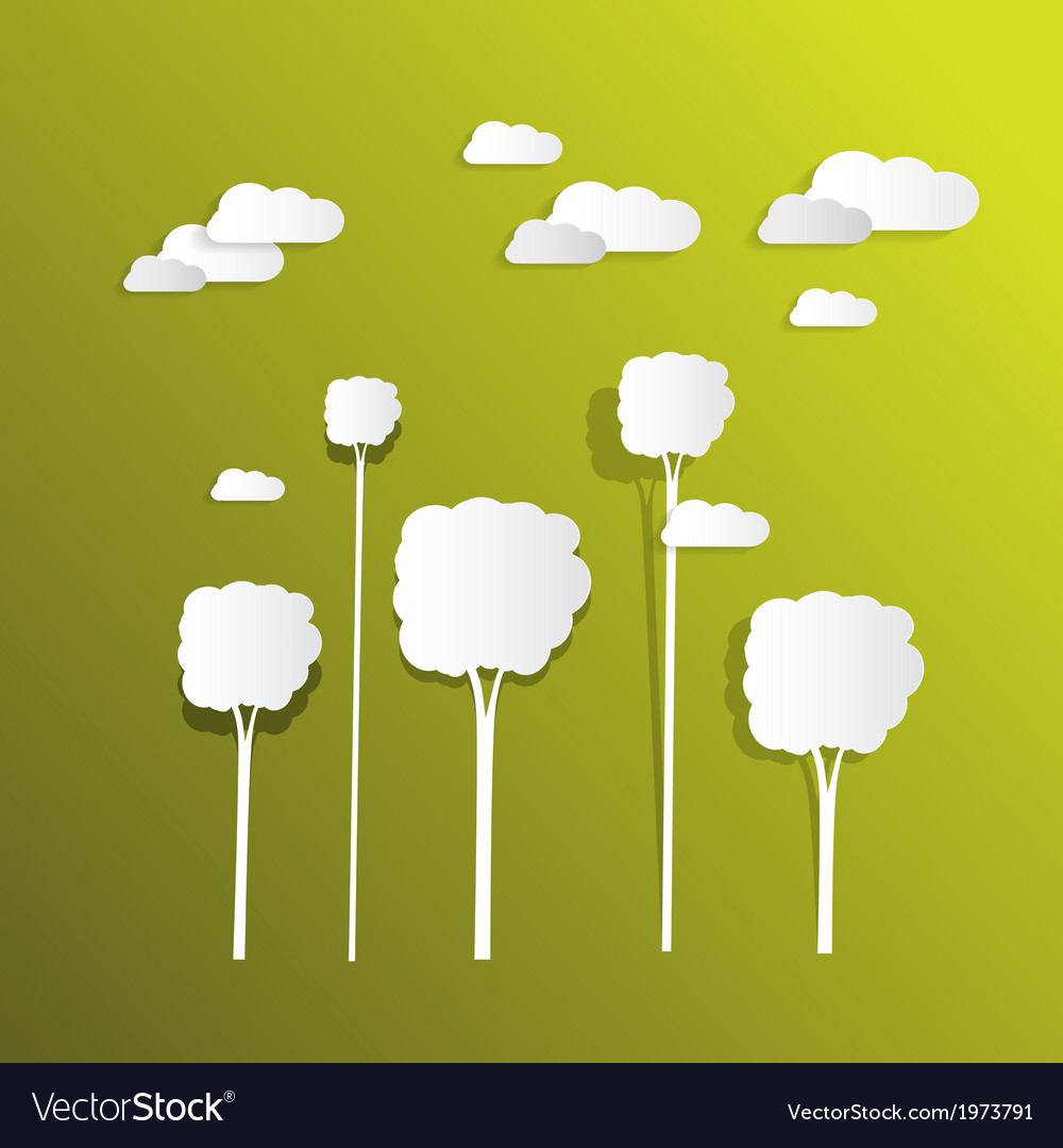Paper clouds and trees on green background vector | Price: 1 Credit (USD $1)