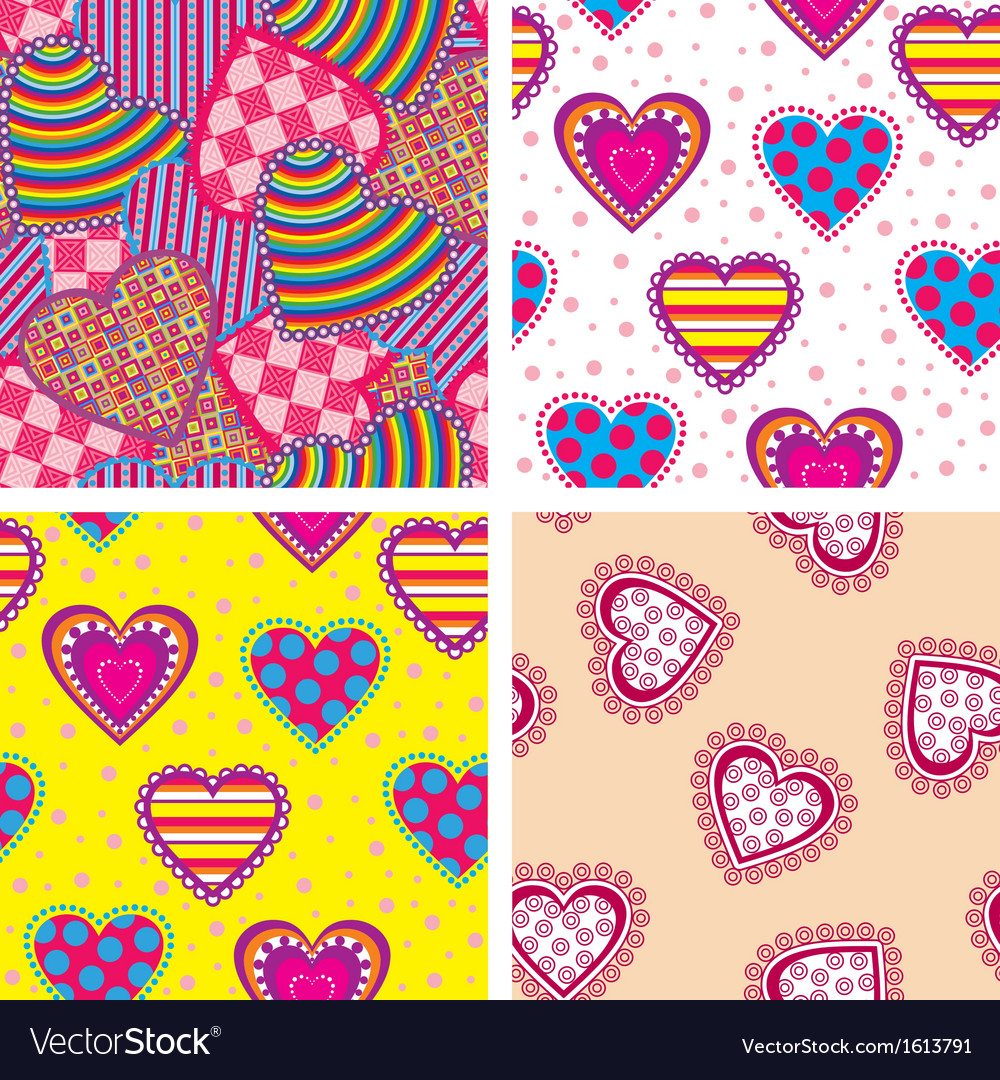 Set heart pattern vector | Price: 1 Credit (USD $1)