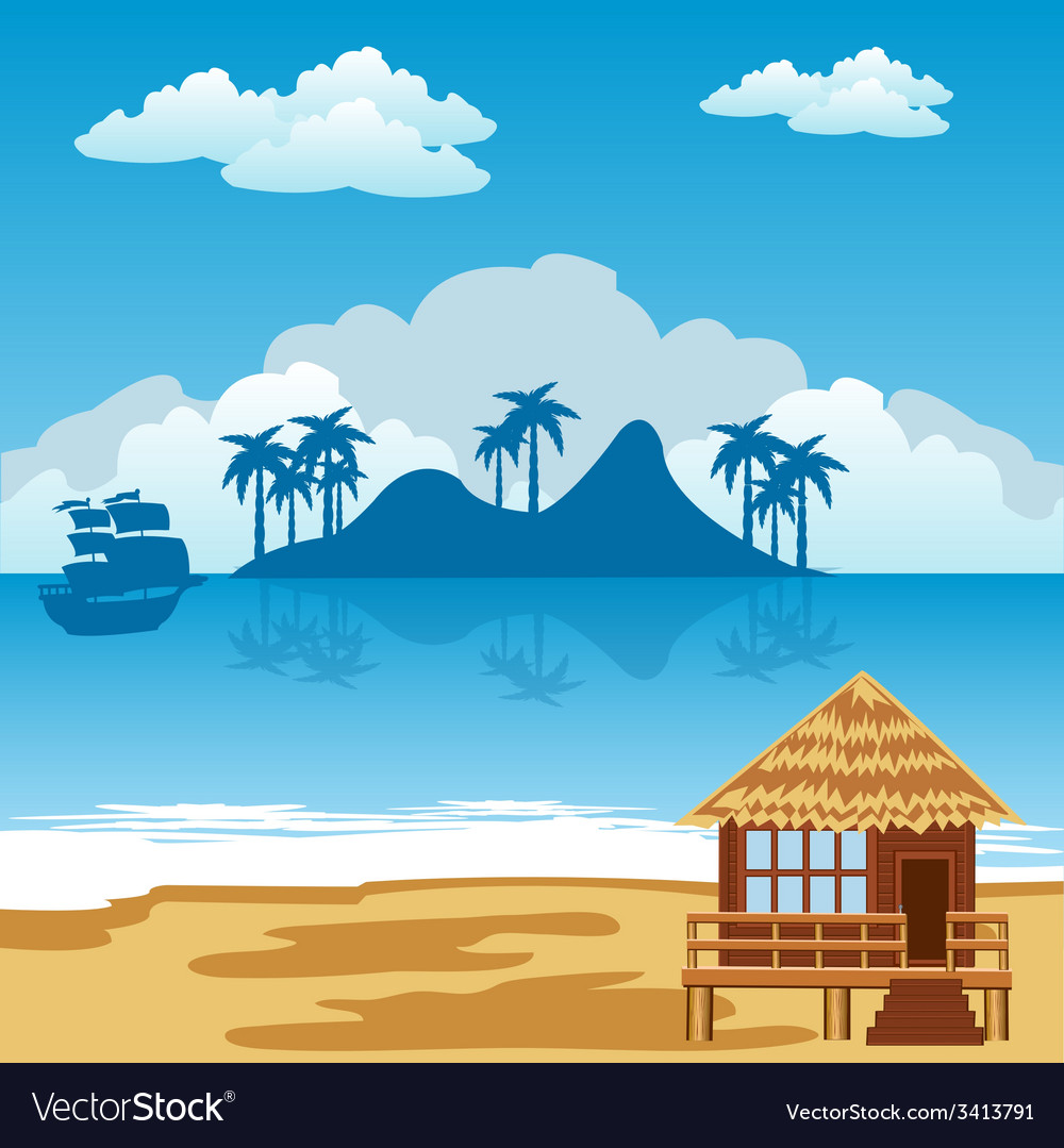Tropical island and seaside vector | Price: 1 Credit (USD $1)