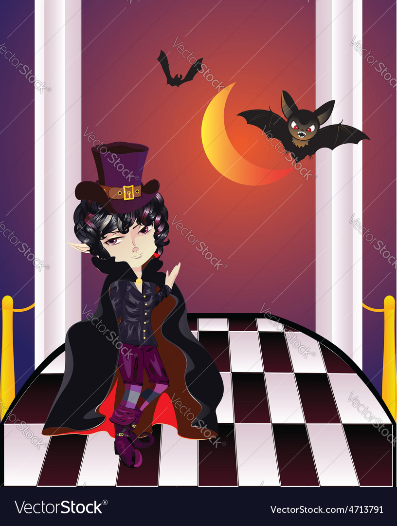 Vampire on balcony2 vector | Price: 3 Credit (USD $3)