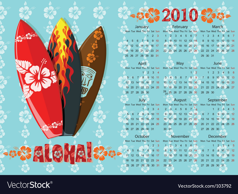 Aloha calendar with surf boards vector | Price: 1 Credit (USD $1)