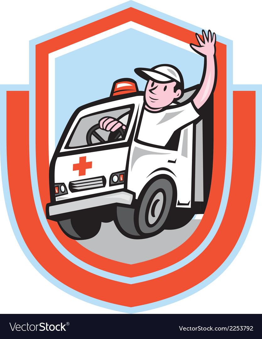 Ambulance emergency vehicle driver waving shield vector | Price: 1 Credit (USD $1)