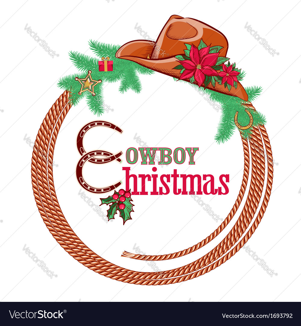 American cowboy christmas background isolated on vector | Price: 1 Credit (USD $1)