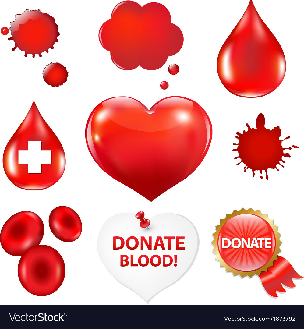 Big collection with blood drop and heart vector   Price: 1 Credit (USD $1)