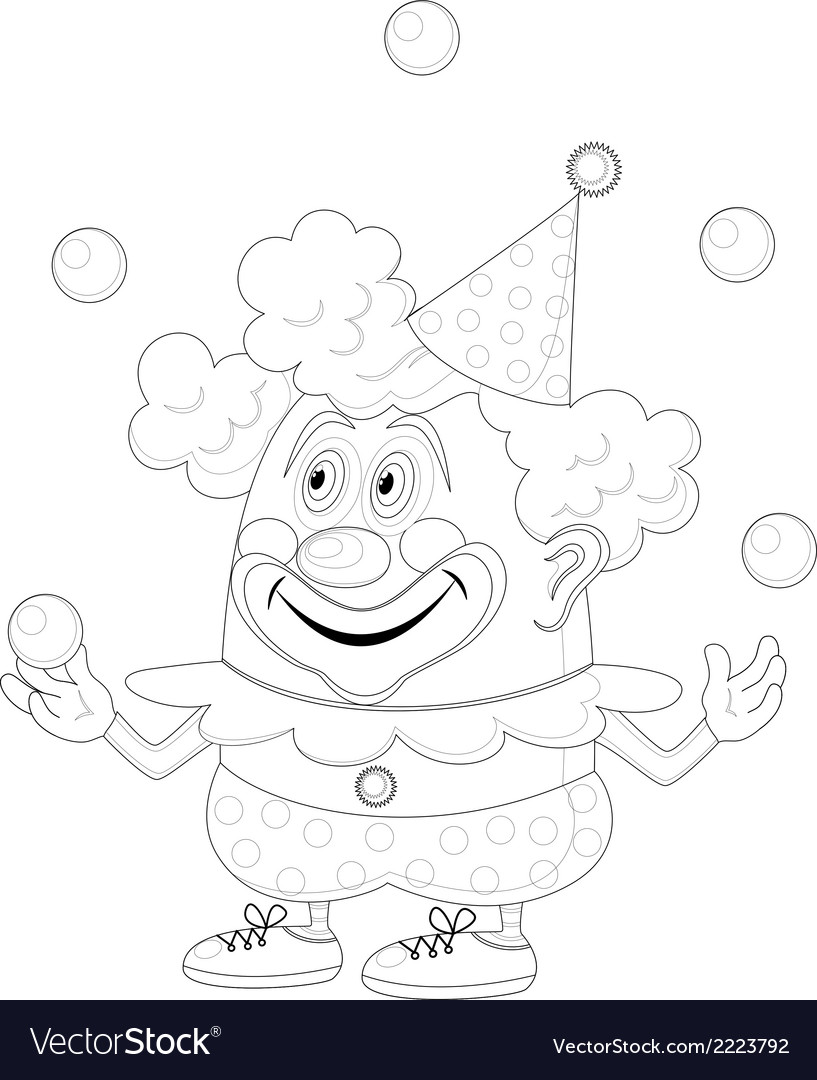 Circus clown juggling balls contour vector | Price: 1 Credit (USD $1)