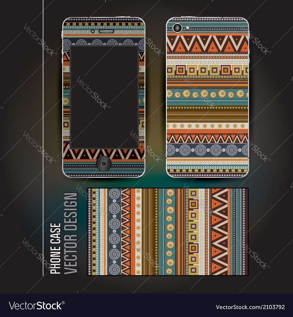 Cover phone abstract ethnic background vector | Price: 1 Credit (USD $1)