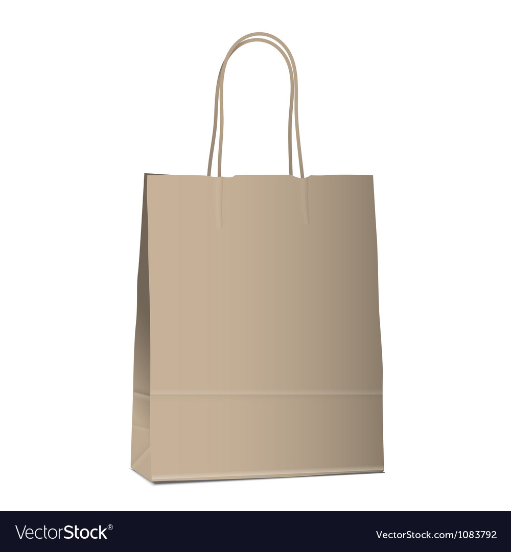 Empty shopping brown bag on white vector | Price: 1 Credit (USD $1)