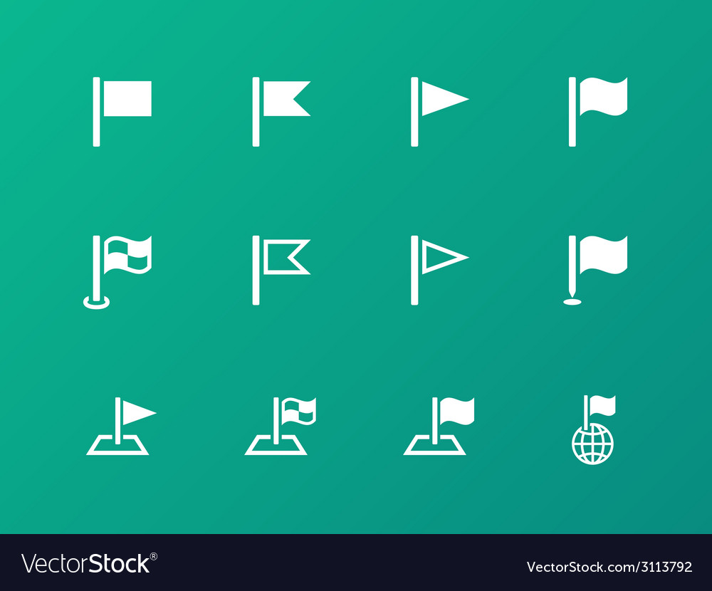 Flag icons on green background vector | Price: 1 Credit (USD $1)