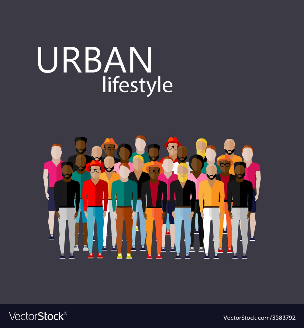 Flat of male community with a large group of guys vector | Price: 1 Credit (USD $1)